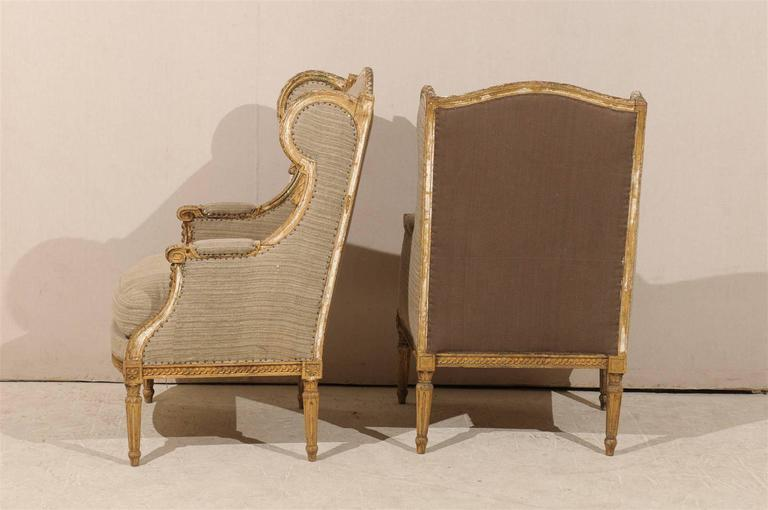 Pair of French 19th Century Louis XVI Style Wingback Chairs For Sale 3