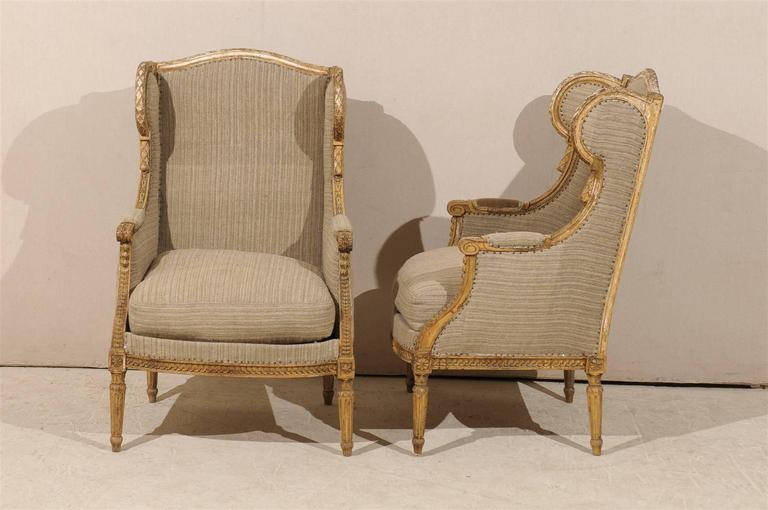 Pair of French 19th Century Louis XVI Style Wingback Chairs For Sale 4