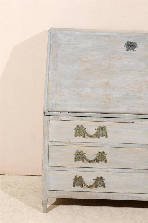 Swedish 19th Century Gustavian Style Painted Wood Slant-Front Desk For Sale 1
