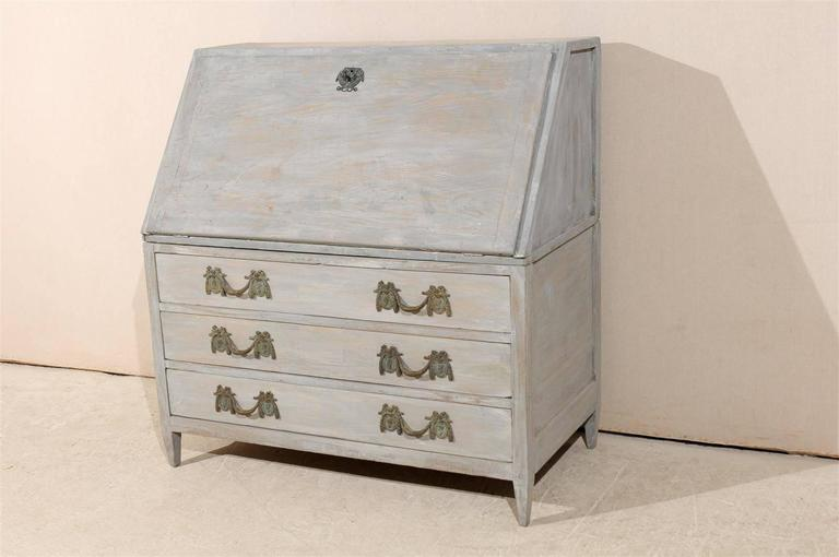 Swedish 19th Century Gustavian Style Painted Wood Slant-Front Desk For Sale 2