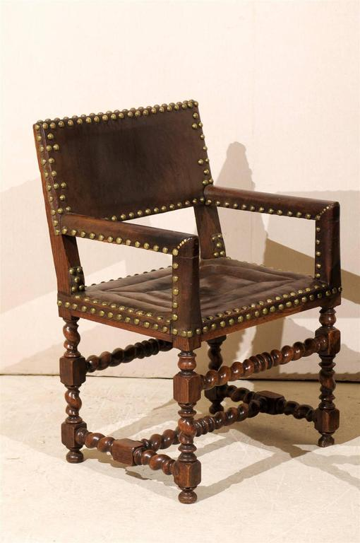 Metal Pair of French 1920s Wood and Leather Armchairs with Turned Legs and Nail-Heads For Sale