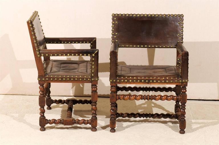 Pair of French 1920s Wood and Leather Armchairs with Turned Legs and Nail-Heads For Sale 1