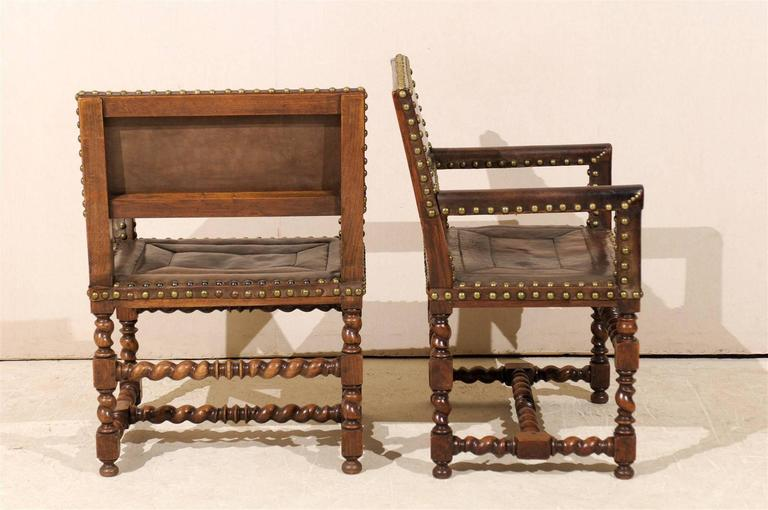 Pair of French 1920s Wood and Leather Armchairs with Turned Legs and Nail-Heads For Sale 2
