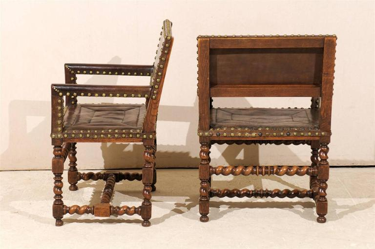 Pair of French 1920s Wood and Leather Armchairs with Turned Legs and Nail-Heads For Sale 3