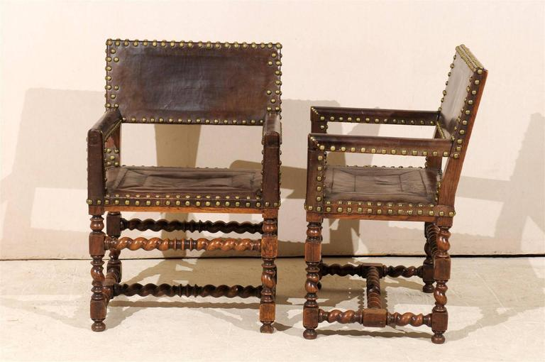Pair of French 1920s Wood and Leather Armchairs with Turned Legs and Nail-Heads For Sale 4