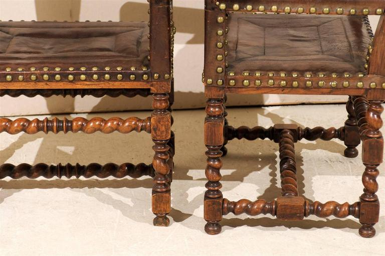 Pair of French 1920s Wood and Leather Armchairs with Turned Legs and Nail-Heads For Sale 5