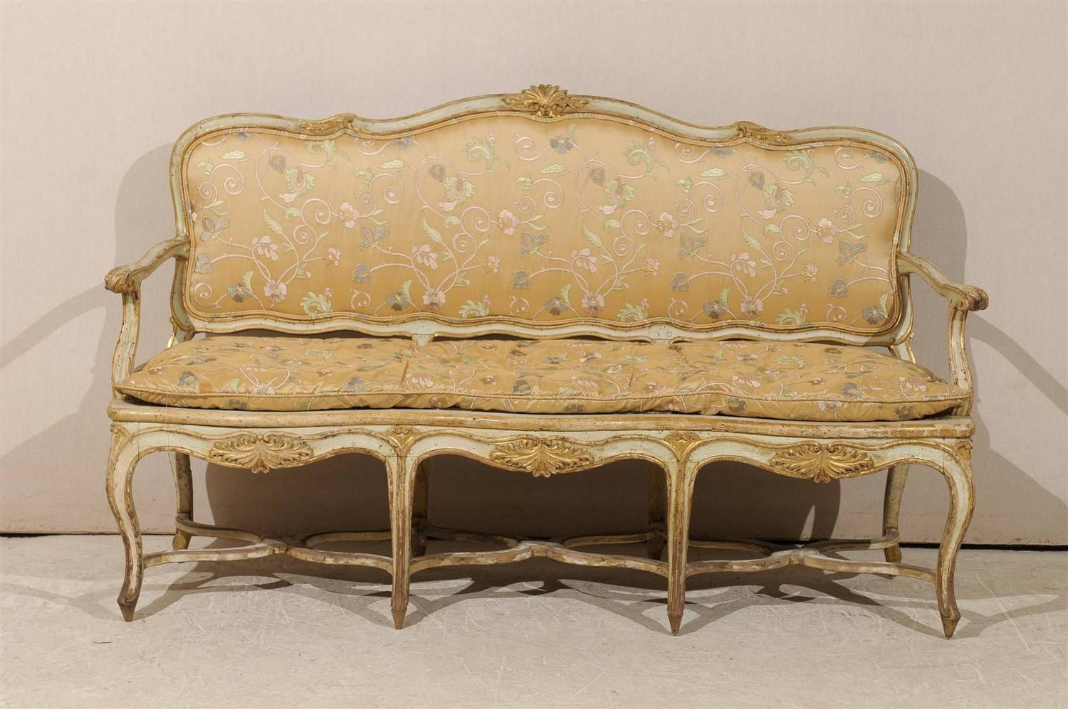 French 18th century sofa canap with original paint for for French canape sofa