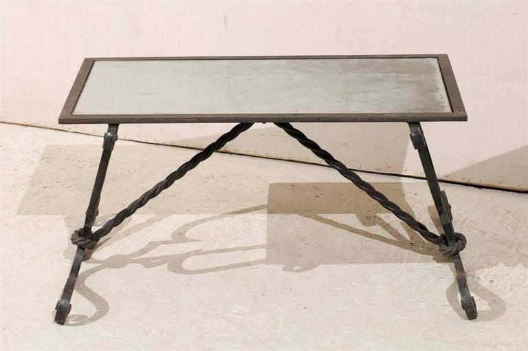 French vintage wrought iron base coffee table at 1stdibs Wrought iron coffee table bases