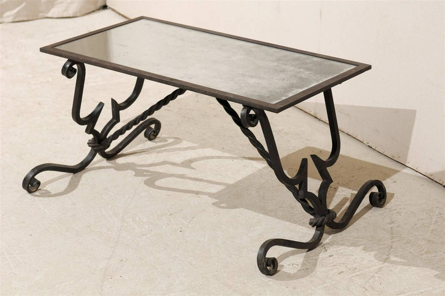 French vintage wrought iron base coffee table for sale at for Wrought iron coffee table base