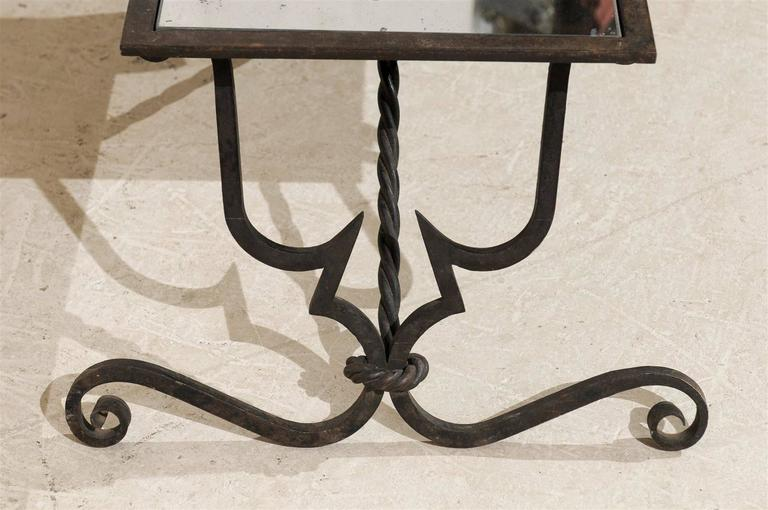 French vintage wrought iron base coffee table at 1stdibs for Wrought iron cocktail table bases