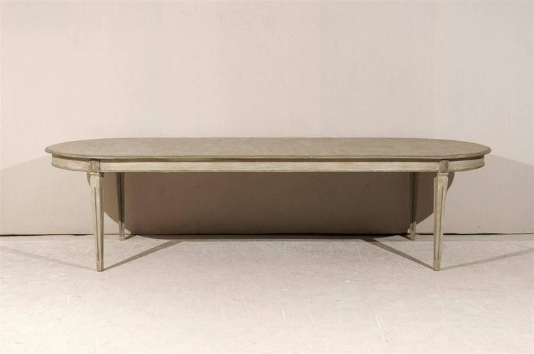 A Swedish Gustavian Style Custom Painted Wood Dining Table With Tapered  Legs Made From Two Swedish