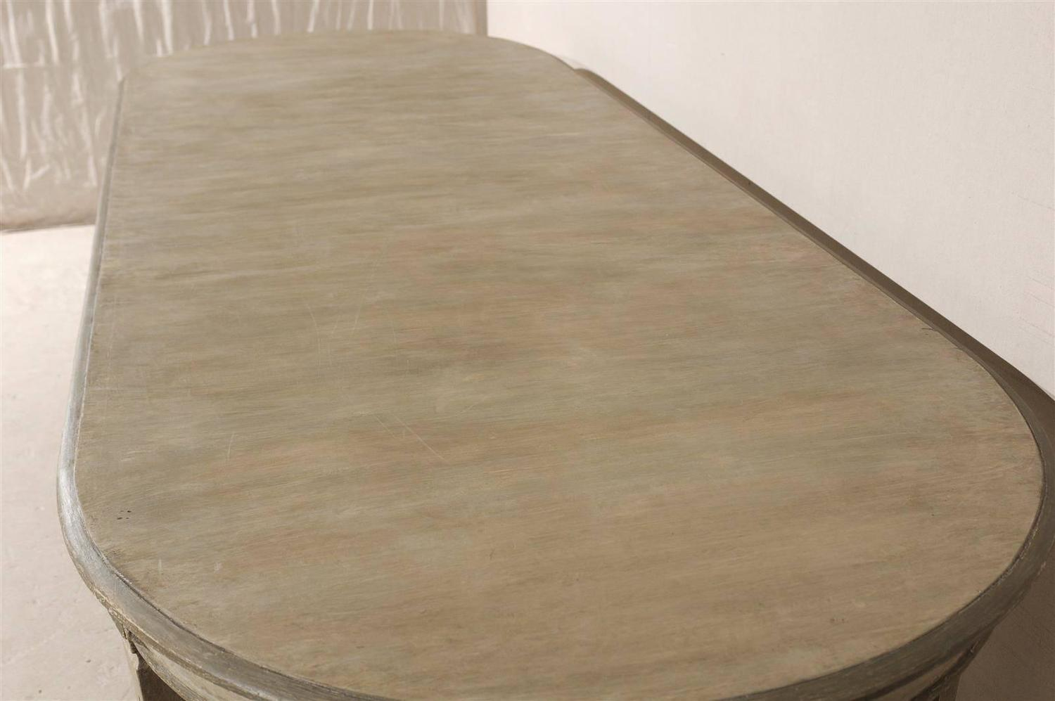 Swedish Gustavian Style Painted Wood Oval Dining Table At 1stdibs. Full resolution  pic, nominally Width 1500 Height 997 pixels, pic with #7E634D.