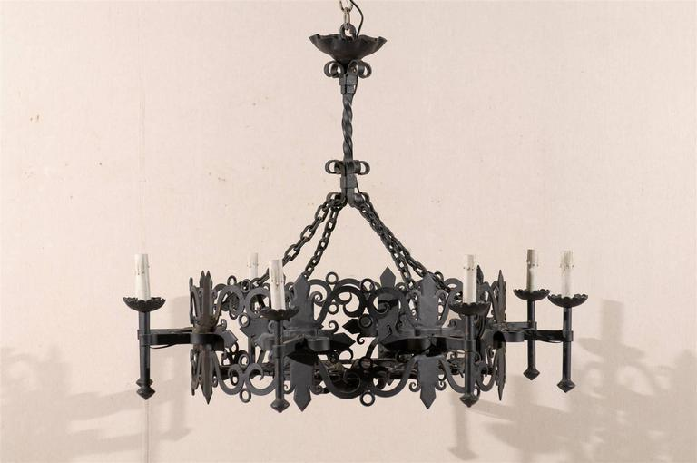 Kronleuchter Eisen ~ Italienischer vintage achtarmiger runder kronleuchter eisen im