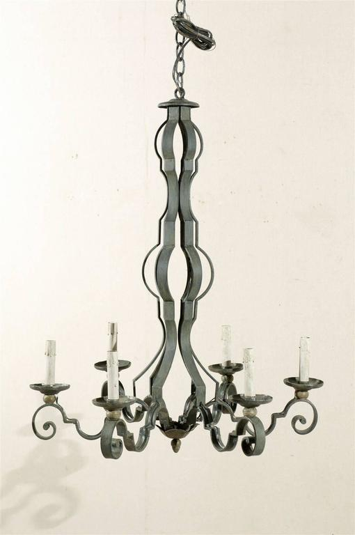 French Mid-20th Century Painted Iron Six-Light Chandelier In Good Condition For Sale In Atlanta, GA