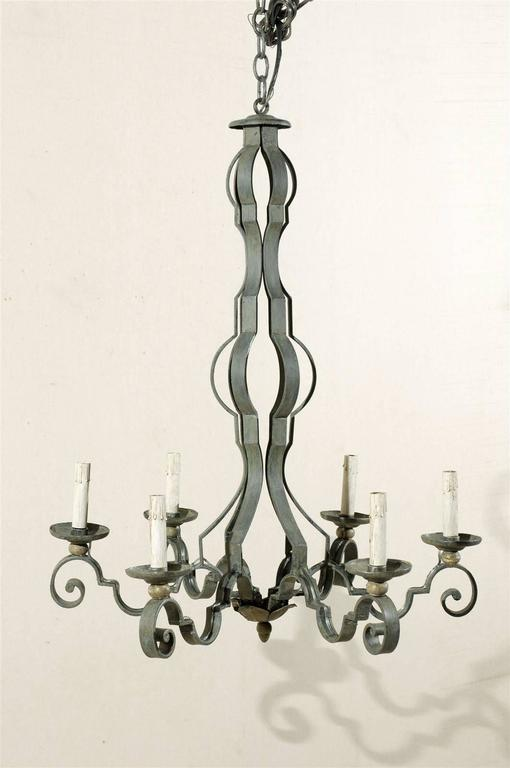 French Mid-20th Century Painted Iron Six-Light Chandelier For Sale 1