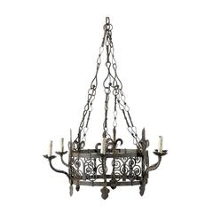 French Vintage Gothic Style Iron Six-Light Chandelier
