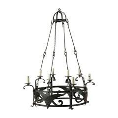 Italian Vintage Eight-Light Circular Iron Chandelier