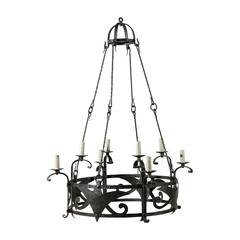 Italian Vintage Eight-Light Circular Iron Chandelier