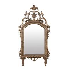 Italian 19th Century Italian Wooden Mirror with Exquisite Crest Carving