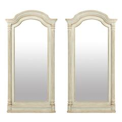 Pair of American Painted Wood Mirrors with Arched Crest