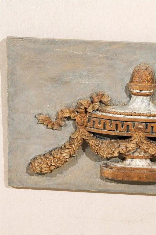 A Pair of Italian 19th Century Painted Wood Wall Decorations with Carved Urns For Sale 5