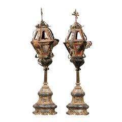 Pair of Italian 19th Century Painted Metal Table Lamps