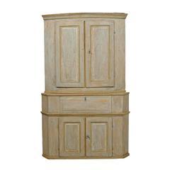 Large Swedish Early 19th Century Karl Johan Painted Wood Corner Cabinet