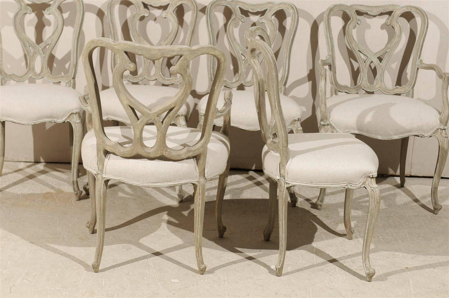Set Of Six Venetian Style Painted Wood Dining Room Chairs For Sale At 1stdibs
