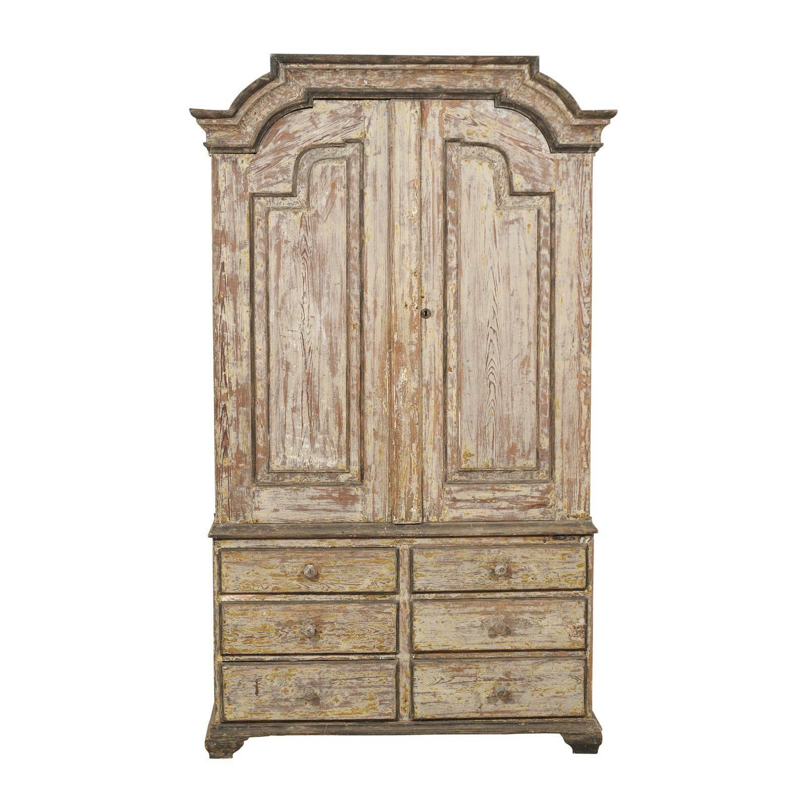 18th Century Swedish Period Rococo Wooden Cabinet with Original Paint
