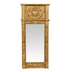 Swedish 19th Century Gilded Wood Mirror with Fire Urn Carving