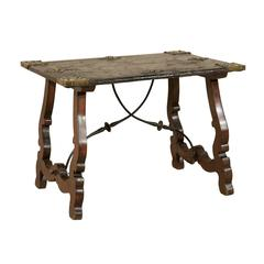 19th Century Spanish Leather Top Coffee Table