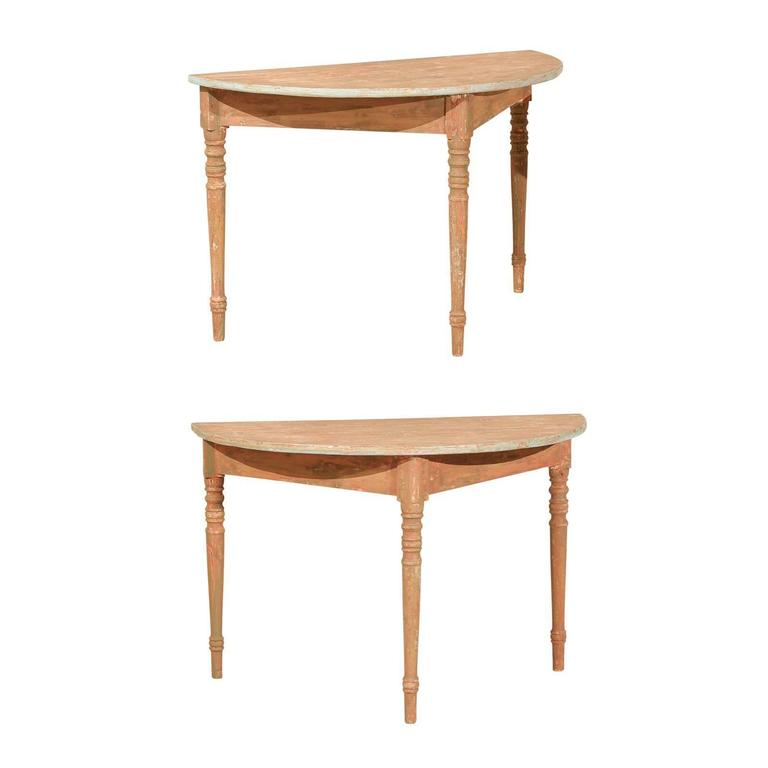 Pair of 19th Century Swedish Demilune Console Tables