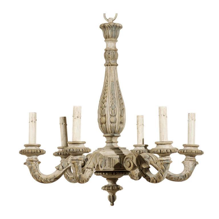 French Vintage Six-Light Carved Wood Chandelier