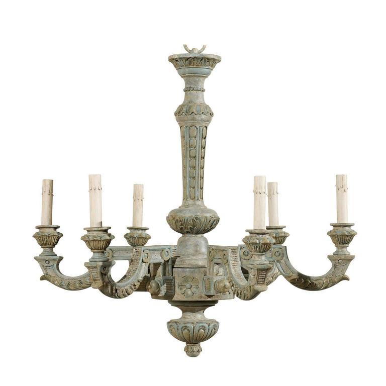 French six light painted and carved wood chandelier for sale at 1stdibs french six light painted and carved wood chandelier for sale aloadofball Gallery