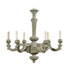 French Six-Light Painted and Carved Wood Chandelier