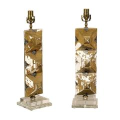 Pair of Italian Wooden Fragments Made into Table Lamps