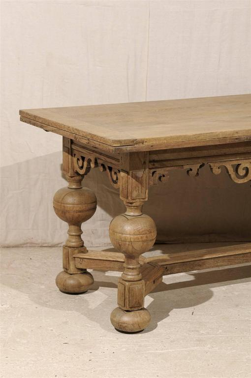A Swedish Baroque Style Wooden Table With Carved Apron, Early 19th Century In Good Condition For Sale In Atlanta, GA