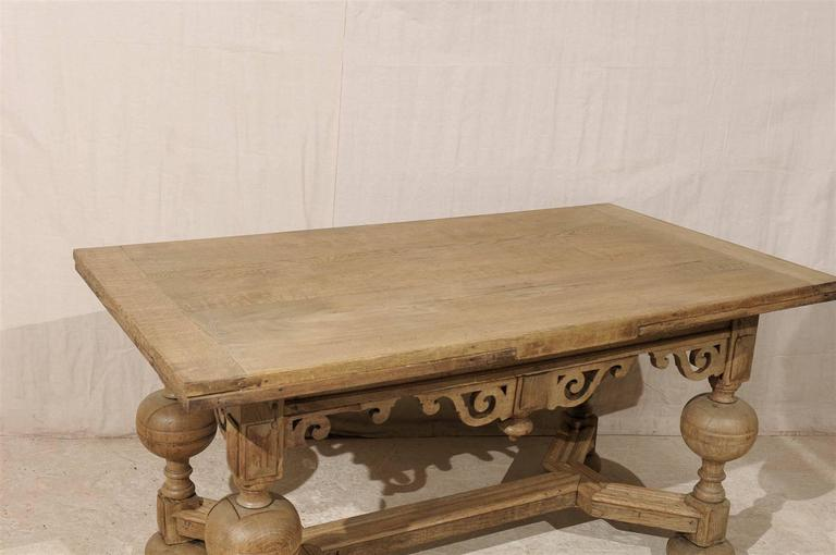A Swedish Baroque Style Wooden Table With Carved Apron, Early 19th Century For Sale 1