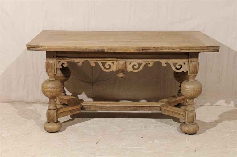 A Swedish Baroque Style Wooden Table With Carved Apron, Early 19th Century For Sale 3