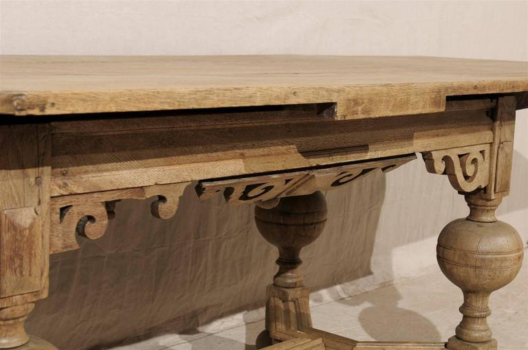 A Swedish Baroque Style Wooden Table With Carved Apron, Early 19th Century For Sale 5