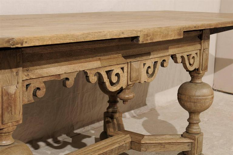A Swedish Baroque Style Wooden Table With Carved Apron, Early 19th Century For Sale 6