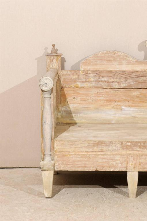 Swedish Painted Wood Karl Johan Bench Scraped to Original Color In Good Condition For Sale In Atlanta, GA