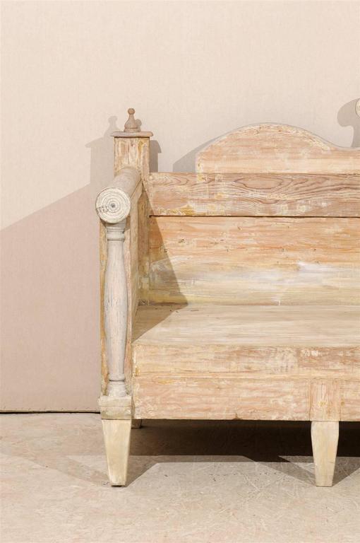 Swedish Painted Wood Karl Johan Bench Scraped to Original Color 3