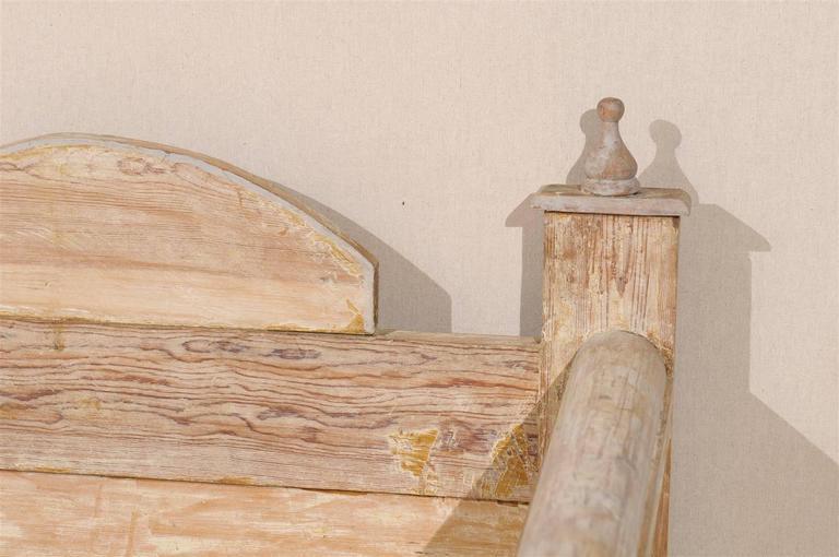 Swedish Painted Wood Karl Johan Bench Scraped to Original Color 5