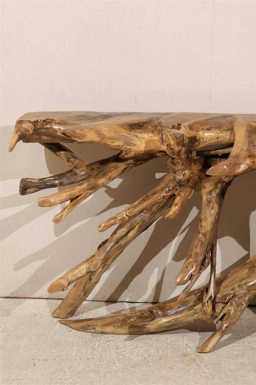 Indonesian Natural Teak Root Wooden Console Table