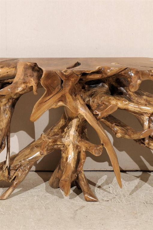 Natural Teak Root Wooden Console Table In Good Condition In Atlanta, GA