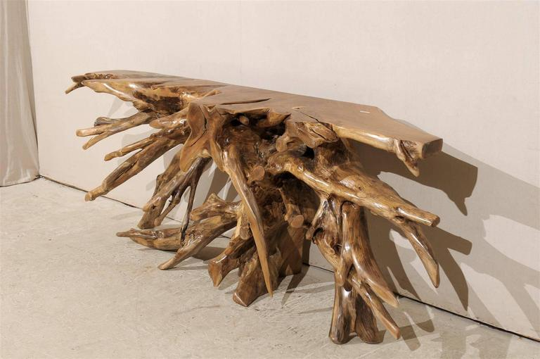 Contemporary Natural Teak Root Wooden Console Table