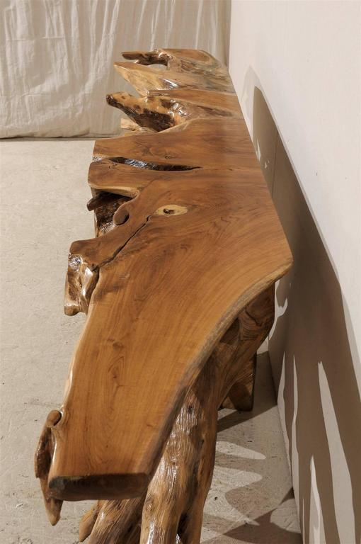 Natural Teak Root Wooden Console Table 1