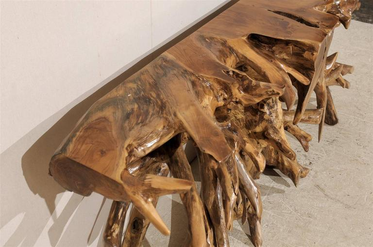Natural Teak Root Wooden Console Table 2