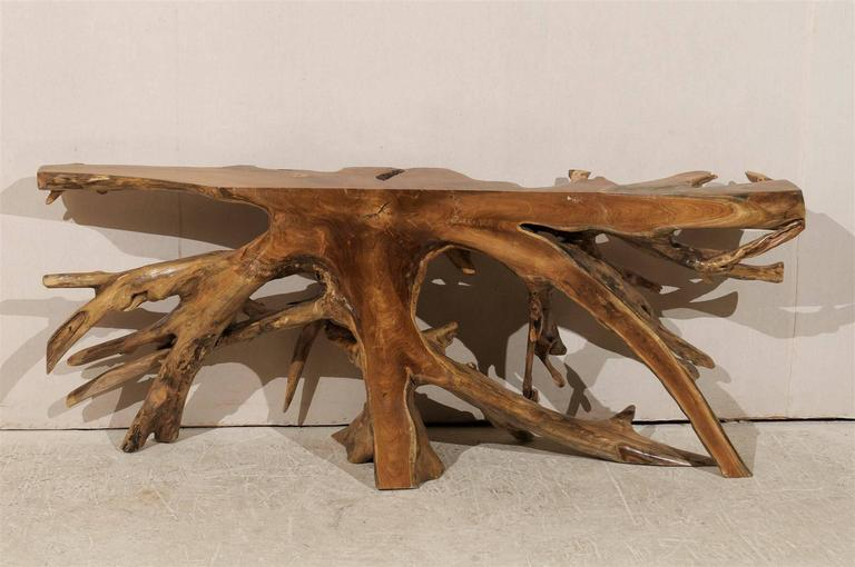 Natural Teak Root Wooden Console Table 3